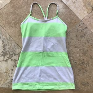 Lululemon power y tank zippy green white 4